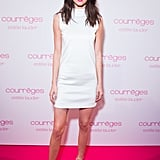 Kendall Worked a White Turtleneck Minidress at the Estée Lauder Dinner