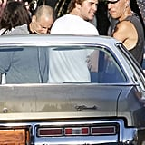 Liam Hemsworth wore a white t-shirt on the set of Empire State in New Orleans.