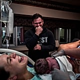 Photo of Dad Reacting to His Child's Birth
