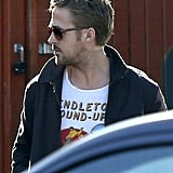 Ryan Gosling left a restaurant in LA after lunch with a friend.