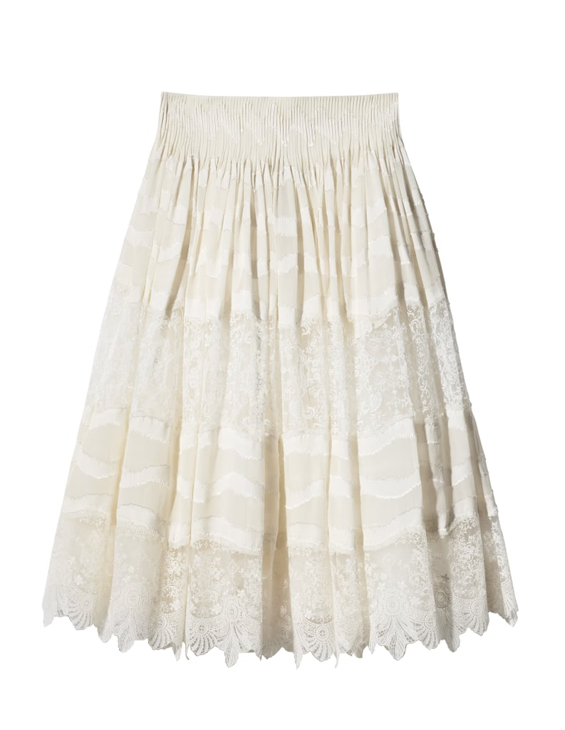 H&M Conscious Collection Silk-Blend Skirt With Lace ($199)