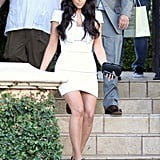 Kim Kardashian leaving rehearsal dinner.