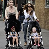 Sarah Jessica Parker sported a pair of flats as she took the twins for a walk.