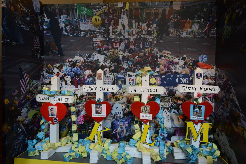 Crosses pay tribute to those lost in the tragedy.