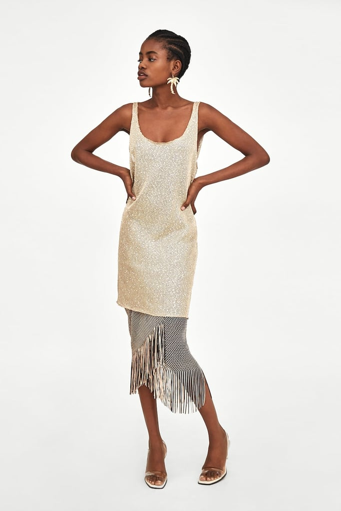 4fa24f38 Zara Textured Dress With Sequins ($39.95) | Best Sequin Party ...