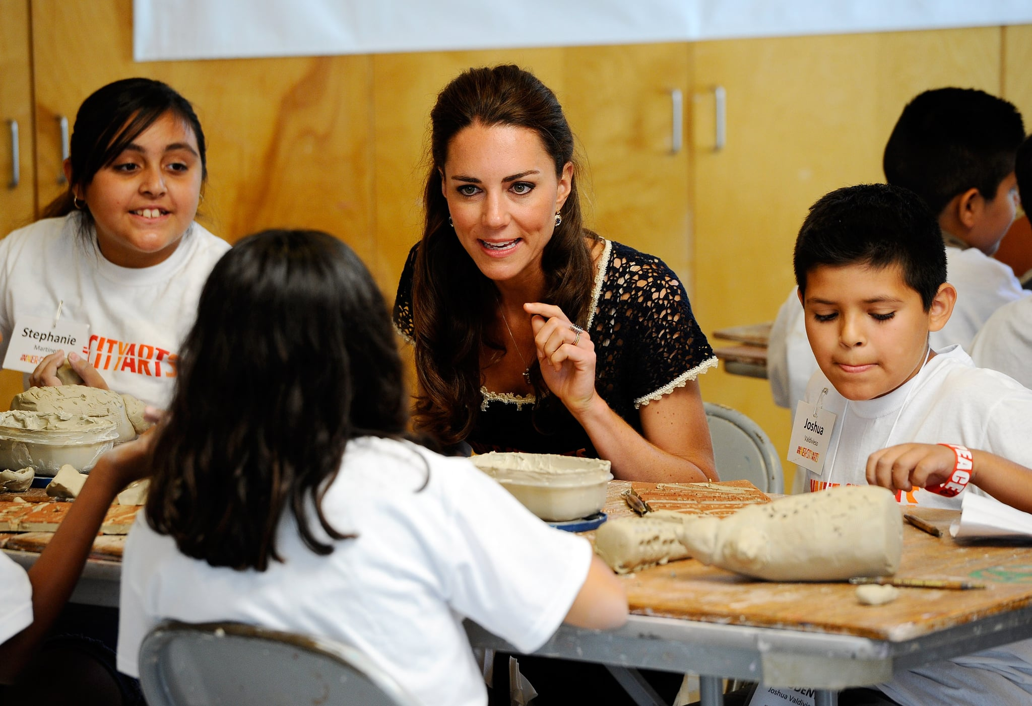 Kate Middleton doing crafts at Inner City Arts in LA.