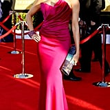 Vergara exuded Old Hollywood glamour in a vibrant structured Marchesa gown for the 2012 SAG Awards in LA. Her swept ponytail exposed her megawatt earrings, while a soft smoky eye and multicolored clutch rounded out her red carpet style.