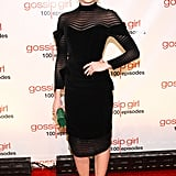 Kaylee DeFer chose a black sheath with sheer detailing at the Gossip Girl fete.
