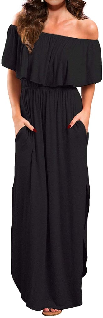 Verabendi Women's Off-Shoulder Summer Casual Long Ruffle Beach Maxi Dress With Pockets