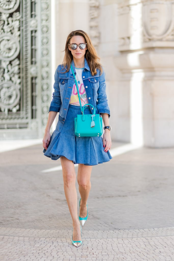 This ain't your average Canadian tuxedo. We love the look of this skirt style paired with an amped-up jean jacket.
