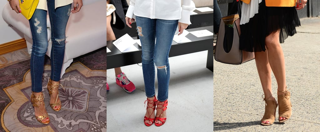 Olivia Palermo Wearing Designing Aquazzura Heels And Shoes