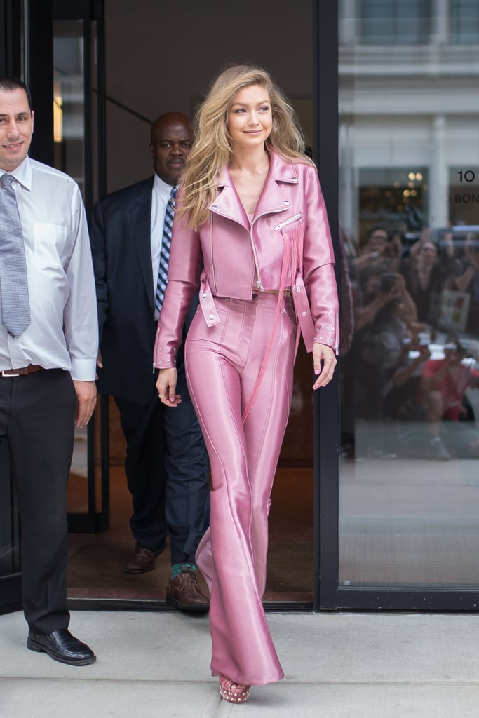 In June 2015, the model blessed us with a Barbie-like outfit complete with embellished Aquazzura heels.