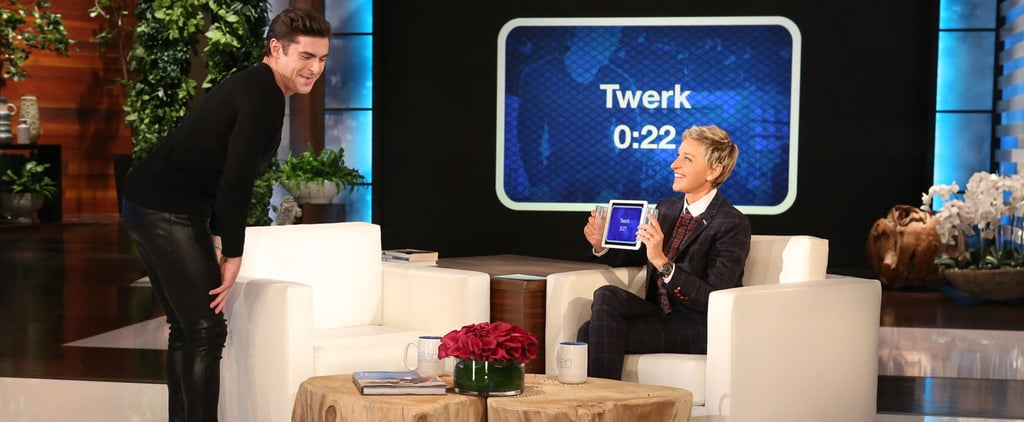 Zac Efron Twerks in Leather Pants and Gives Ellen DeGeneres a Lap Dance