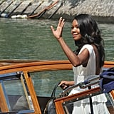 Gabrielle Union gave a wave while on a boat at the Venice Film Festival.