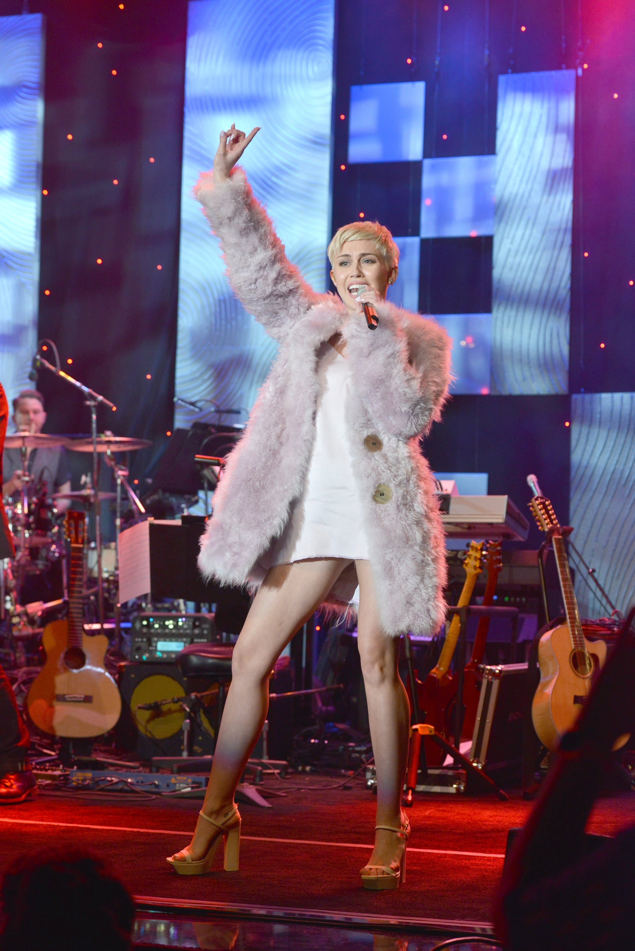 Miley Cyrus struck a confident pose on stage.