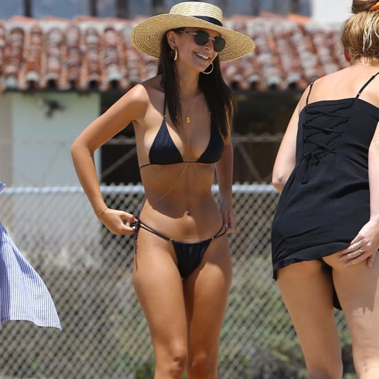 Emily Ratajkowski Black Triangle Bikini