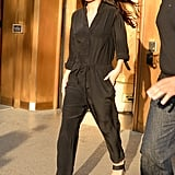Fall staple: A slouchy long-sleeved jumpsuit. Selena wore it with: Open-toed Jenni Kayne sandals and dark Dior sunglasses in New York in October 2015.
