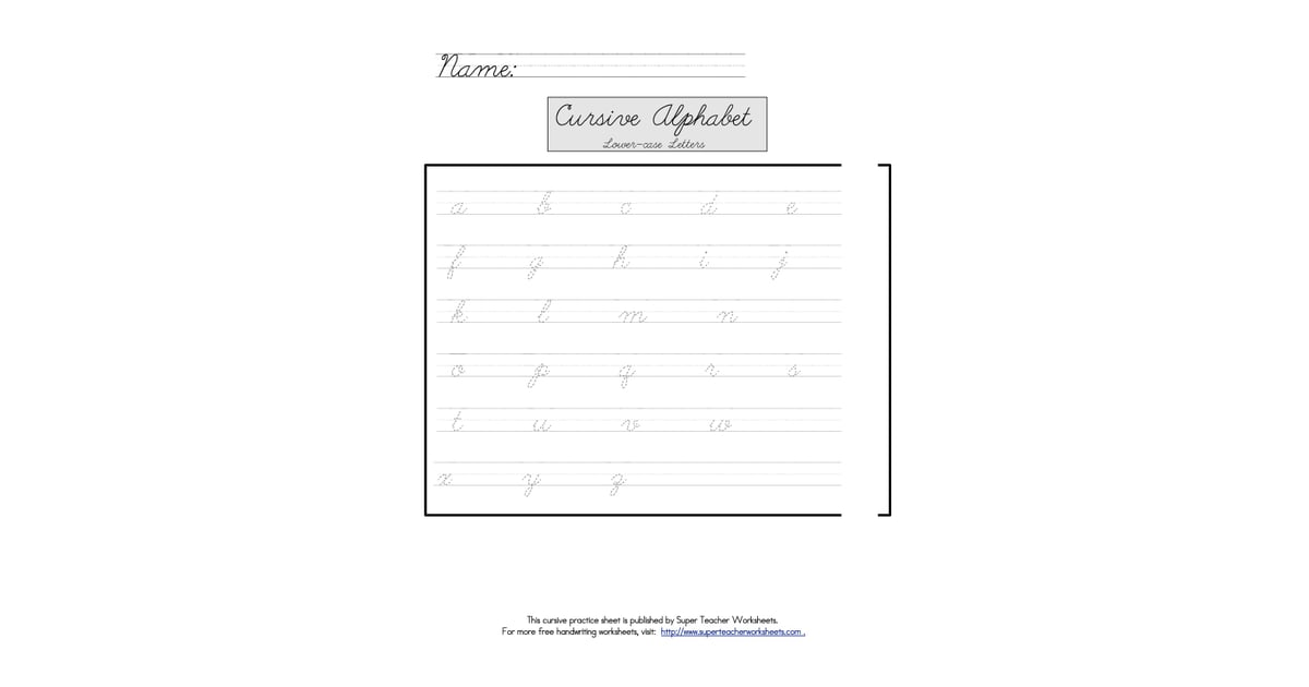 Super Teacher Worksheets (free) | Tools For Teaching Cursive Writing ...