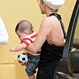 Shakira's son, Milan, played with his toy soccer ball.