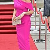 Catherine Zeta-Jones Pink Dress For Swansea Visit July 2019