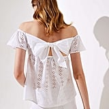Loft Smocked Eyelet Off the Shoulder Top