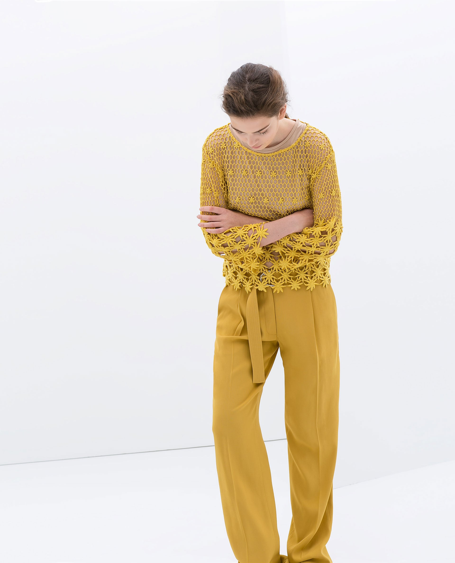 Zara Yellow Embroidered Cotton Blouse ($80)