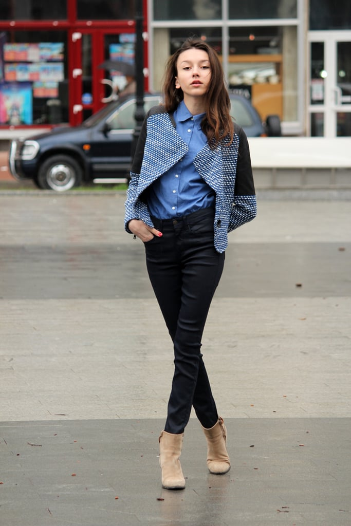 A tweedy jacket elevated denim bottoms and lent a little more warmth to a chambray button-down. Source: Lookbook.nu