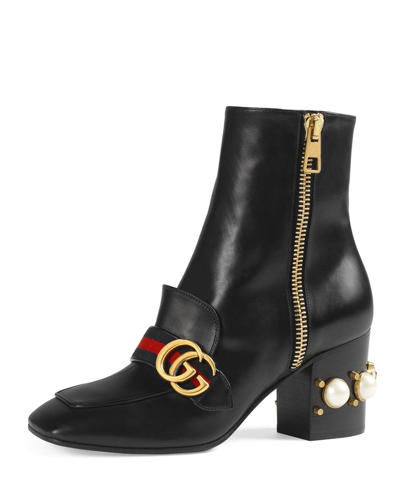 Gucci Peyton Pearly-Heel Ankle Boot