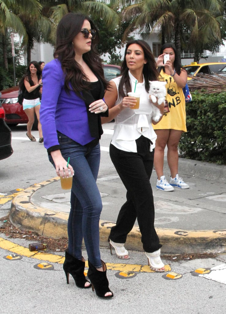 Cameras followed Kim and Khloe Kardashian.