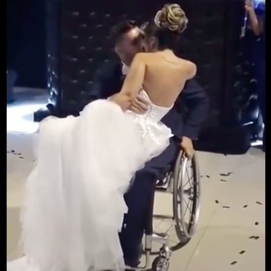 Man in Wheelchair Held Up by Men to Dance With Bride