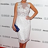 Kelly Brook also went for a white lace Jacques Azagury number.