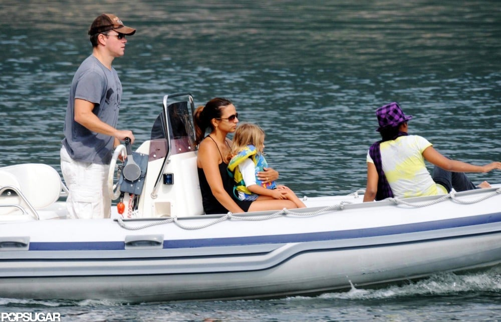 Matt and Luciana Damon went boating on Lake Como in August 2009.