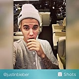 Justin took a selfie inside his new plane.