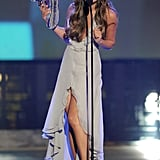Lea Michele accepted her award on stage at the Do Something Awards.