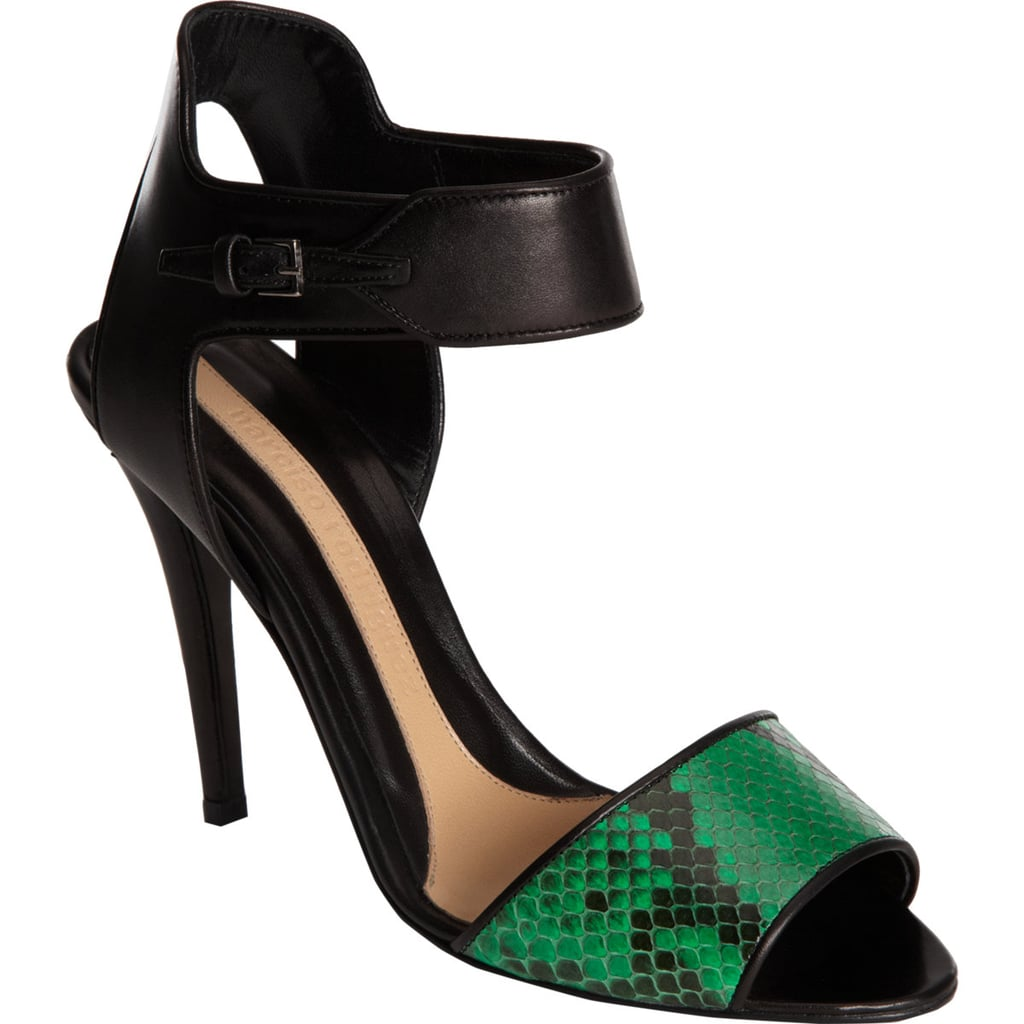 Narciso Rodriguez's classic black sandal ($419, originally $1,050) gets a jolt of energy thanks to emerald green snakeskin.