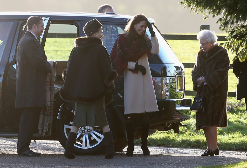 Kate Middleton and the Queen greeted each other.