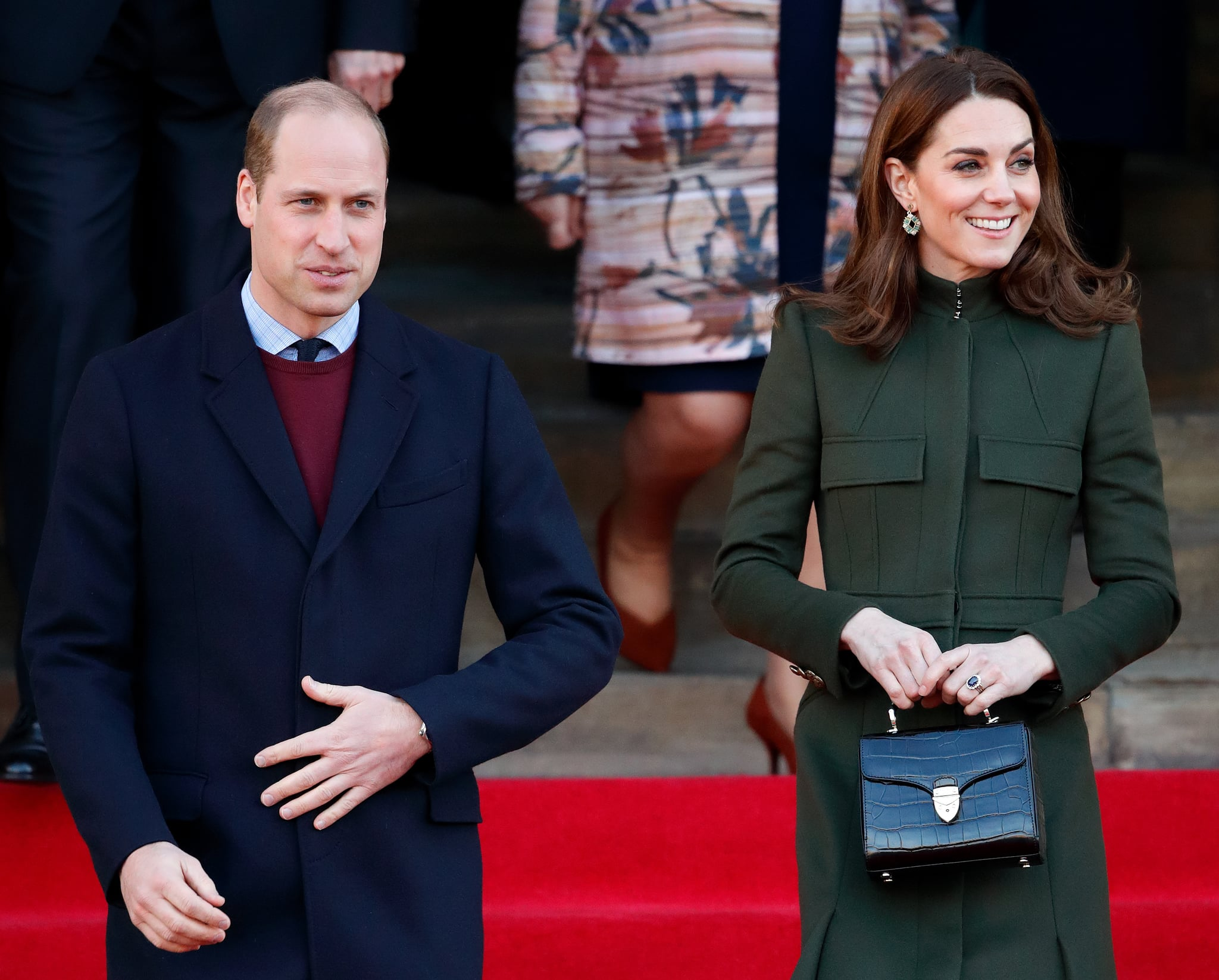 BRADFORD, UNITED KINGDOM - JANUARY 15: (EMBARGOED FOR PUBLICATION IN UK NEWSPAPERS UNTIL 24 HOURS AFTER CREATE DATE AND TIME) Prince William, Duke of Cambridge and Catherine, Duchess of Cambridge depart City Hall in Bradford's Centenary Square before meeting members of the public during a walkabout on January 15, 2020 in Bradford, England. (Photo by Max Mumby/Indigo/Getty Images)