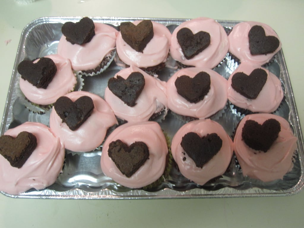 Red Velvet Cupcakes with Pink Cream Cheese Frosting and Brownie Hearts
