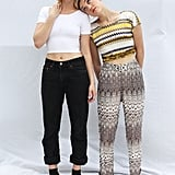 DJ duo Caitlin Moe and Mia Moretti dresses in cropped tees, tailored trousers, and flats.