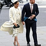Meghan Markle Fall Outfit Idea: A White Printed Dress, Matching Coat, and Hat