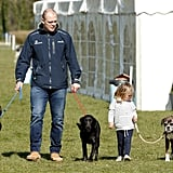 Mike and Mia Tindall With Zara Phillips's Black Labs, Pepper and Storm, and Boxer, Spey
