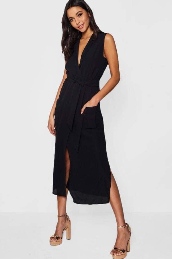 95b3c4343d1d boohoo Paige Sleeveless Belted Midi Shirt Dress