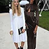 Cara Delevigne and Jourdan Dunn, both in Burberry