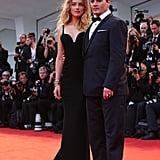 Meanwhile, Johnny Depp proved the couple can master the blue-and-black look, playing up the black lapels of his tux and bow tie with patent-leather creepers.