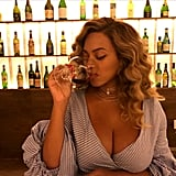 She showed off tons of cleavage while grabbing dinner with JAY Z in August 2017.