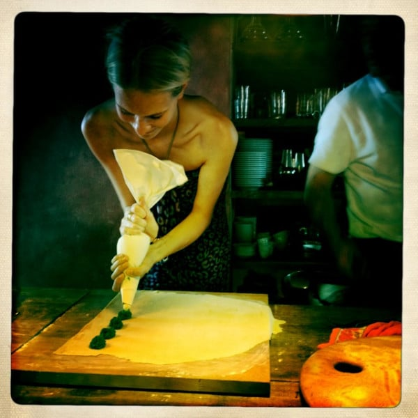 Poppy Delevingne did the impossible: looked chic while making pasta. Source: Twitter user DelevingnePoppy