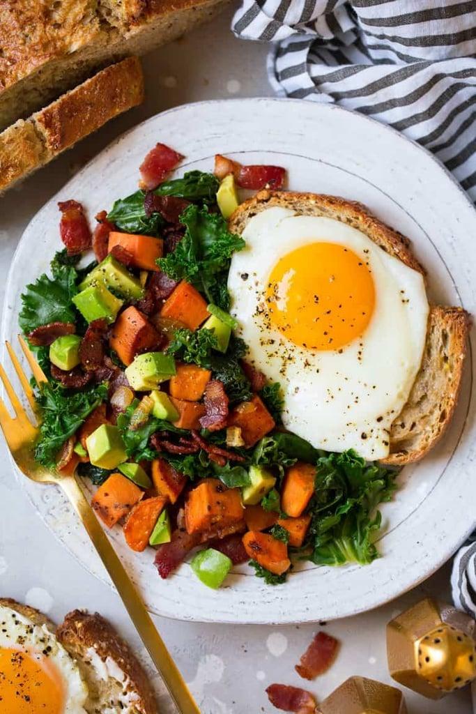 Sweet Potato, Kale, Bacon, and Avocado Hash