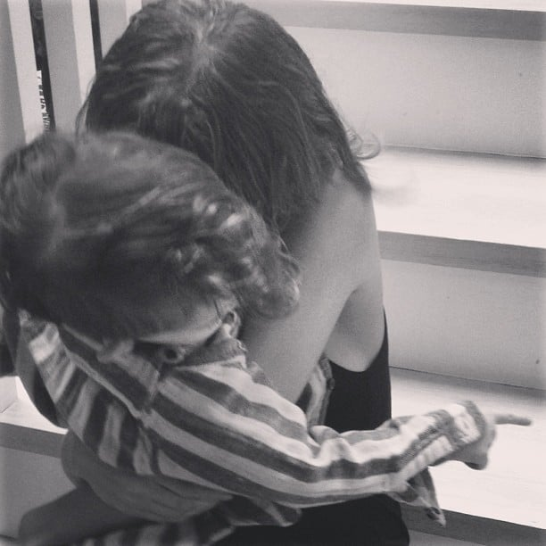 Joel Madden captured Harlow giving Sparrow a loving hug. Source: Instagram user joelmadden