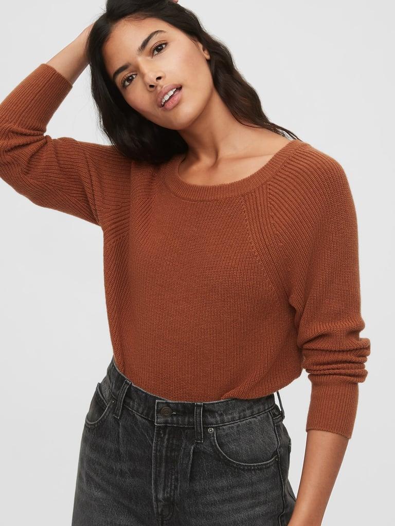 Shaker Stitch Boatneck Sweater