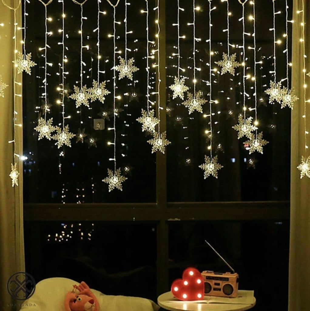 LED Snowflake Curtain String Lights